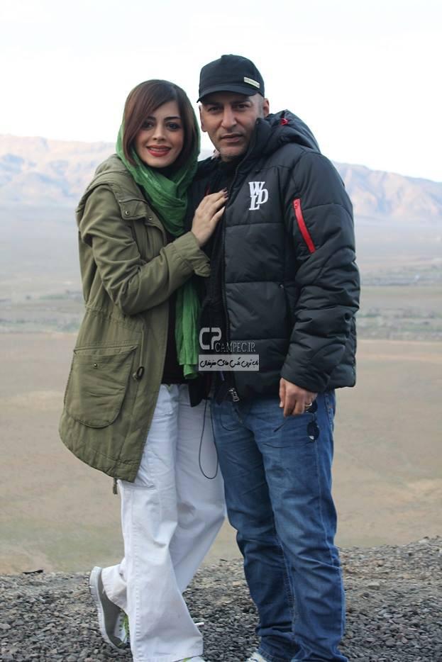 حمید رضا آذرنگ در کنار همسرش ساناز بایان