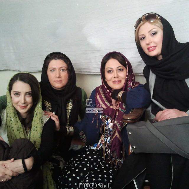 نیوشا ضیغمی فریبا متخصص و سحر جعفری جوزانی در پشت صحنه فیلم ایران برگر