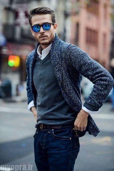 بافت مردانه بلند جلو باز با جدیدترین مدل یقه مردانه