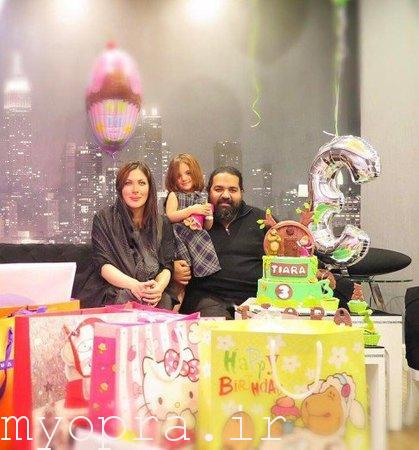 رضا صادقی و همسرش در جشن تولد دخترش تیارا