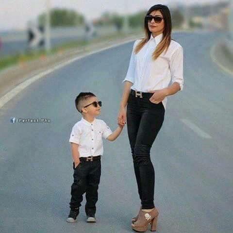 مدل لباس پسرانه شیک ست با مادر مد 2017